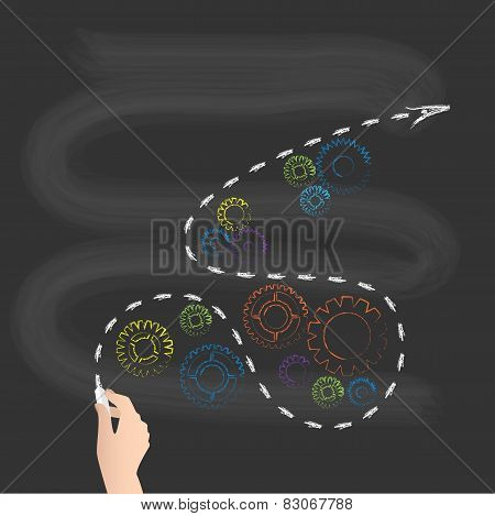 School Blackboard, Arrow With Colorful Gears