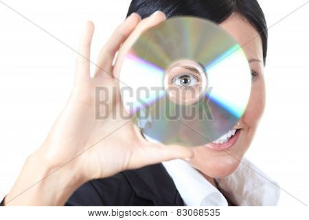 Our new software. Woman holding compact disc. Head and shoulders