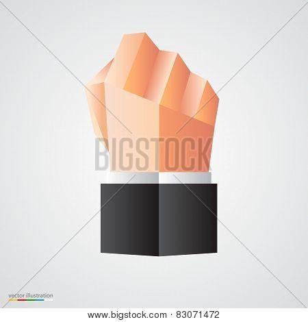 Polygonal fist on white background