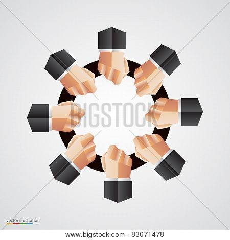 Polygonal hand circle community sign