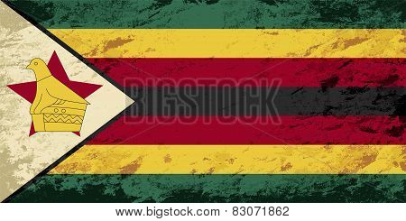 Zimbabwean flag. Grunge background. Vector illustration