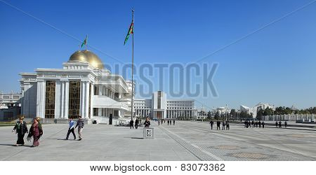 Ashgabad Turkmenistan - October 10 2014: Central square of Ashgabad in October 10 2014. Turkmenistan