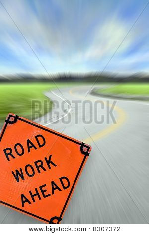 Road Work Ahead Concept