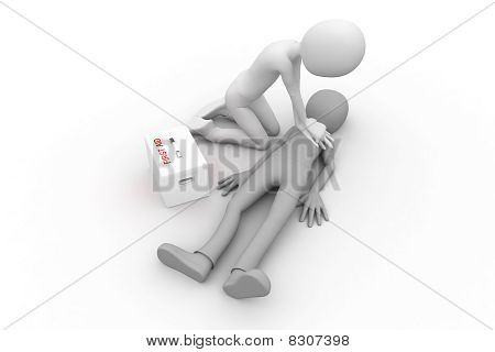 3d man performing cpr