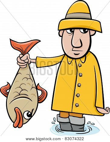 Angler With Fish Cartoon