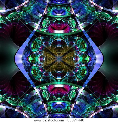 Symmetrical Fractal Pattern With Shiny Strips. Collection -  Rhinestones. On Black Background.