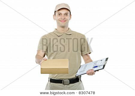 A delivery man bringing a package and holding out a clipboard