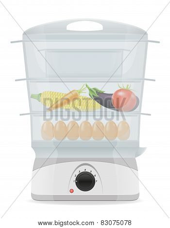 Electric Kitchen Double Boiler Vector Illustration