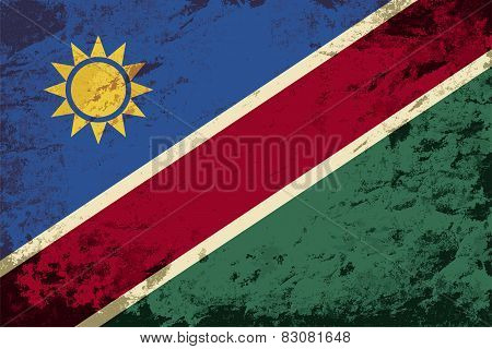 Namibian flag. Grunge background. Vector illustration
