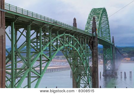 Misty Bridge Dark Hdr Ocean Side