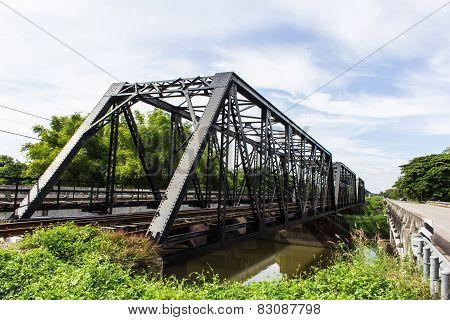 Old Iron Railway Construction Bridge In Lamphun Thailand