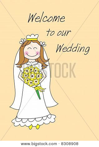 Vector card with bride in white