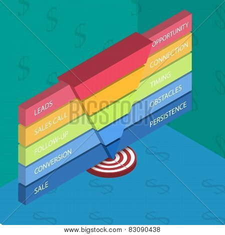 Isometric sales funnel template for your business presentation