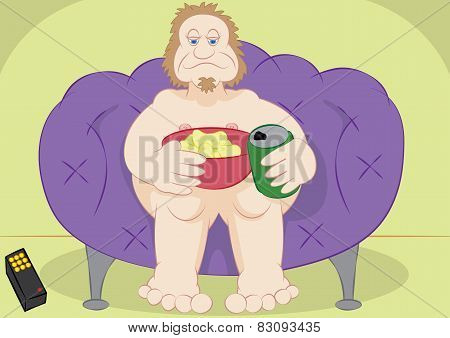 Lazy Guy Couch Potato With Chips And Beer