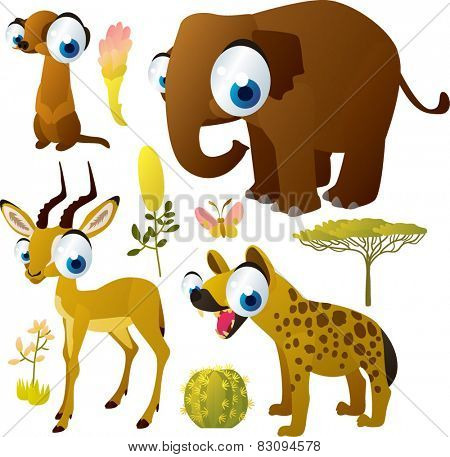 african animals vector cartoon set: meerkat, impala, hyena, elephant