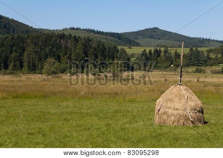 Hay pile is seen on grass with Carpathian mountains on the background on the summer day