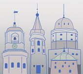 stock photo of olaf  - Illustration of towers and belfry of medieval  town - JPG