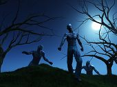 image of zombie  - 3D render of zombies coming over a hill at night - JPG