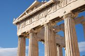 pic of parthenon  - Colonnade and pediment of Parthenon showing sculptures - JPG