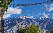stock photo of jammu kashmir  - Rocky landscape of with ice peaks in background Ladakh Jammu and Kashmir India - JPG