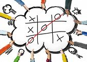 picture of tic  - Tic Tac Toe Game Competition XO Win Challenge Concept - JPG