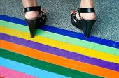 stock photo of black heel  - Black high heels standing on the marble floor  - JPG