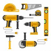 picture of sawing  - Set of construction tools flat icons - JPG