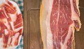 stock photo of shoulder-blade  - Serrano ham with plate in the background - JPG