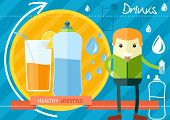 pic of bottle water  - Flat design style healthy lifestyleconcept of everyday water drinking - JPG