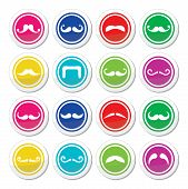stock photo of moustache  - Moustache different types in circle icons set isolated on white - JPG