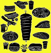 stock photo of kebab  - Vector illustration of doner kebab collection in silhouette mode - JPG