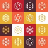 pic of symmetry  - Vector linear hexagon logos and design elements  - JPG