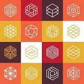 picture of hexagon  - Vector linear hexagon logos and design elements  - JPG
