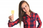 picture of post-teen  - Beautiful woman showing a blank yellow paper note isolated on a white background - JPG