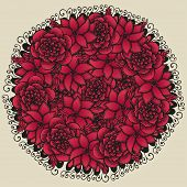 stock photo of floral bouquet  - Round floral ornament like bouquet of red flowers in tattoo style - JPG