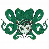 stock photo of octopus  - Illustration of a green pirate zombie octopus with a gothic woman face - JPG