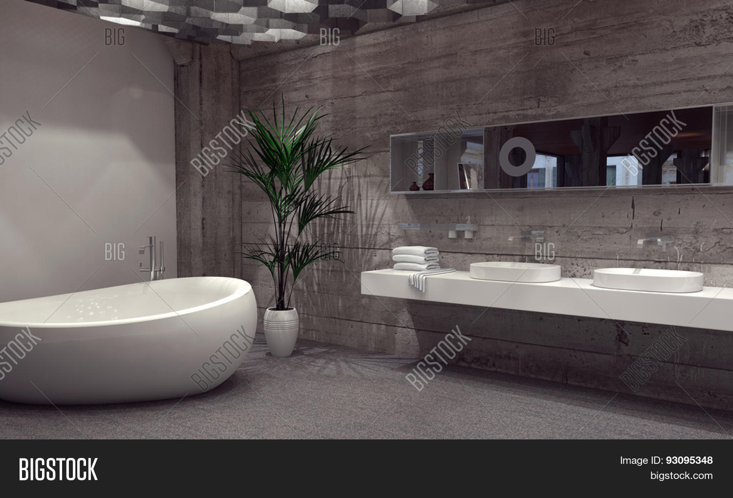 Modern bathroom suite with a double vanity and boat shaped for Salle de bain de luxe moderne