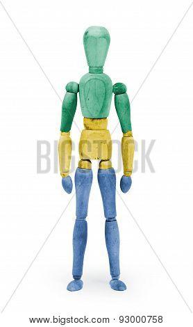 Wood Figure Mannequin With Flag Bodypaint - Gabon