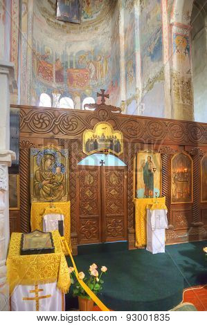 Interior Of Temple Of Dormition Of Most Holy Our Lady Is In A Village Lykhny