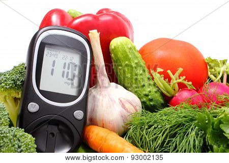 Glucose Meter And Fresh Vegetables