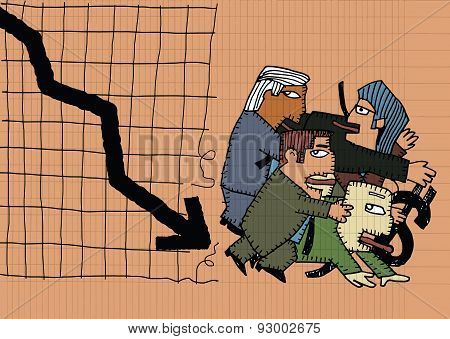 Cartoon Businessman Group Shocking Down Arrow And Downturn Economic