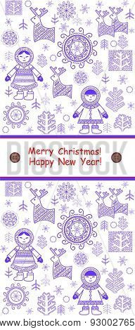 Greeting winter vertical card with eskimo