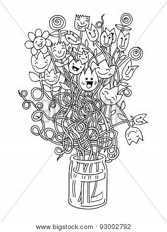 Hipster Hand Drawn Flowers In Vase