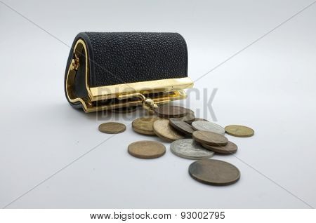 International coins and black wallet, pocket