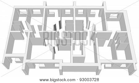 Building room plan on white