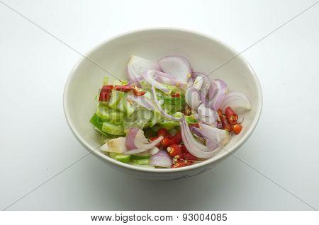 Acar, Ajat, Islamic salad, Vinegar pickled vegetable for grilled pork satay