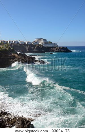 Surf At Coast Of Los Gigantes On Tenerife, Canary, Spain .