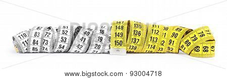 Yellow And White Measuring Tape Isolated On White Background