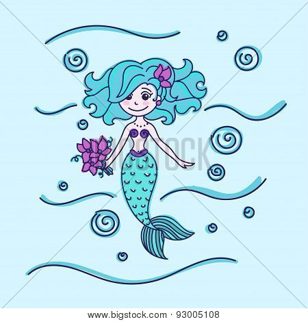 Mermaid with flowers