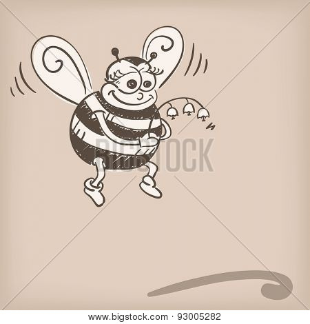 Bee holding flower doodle, Vector illustration